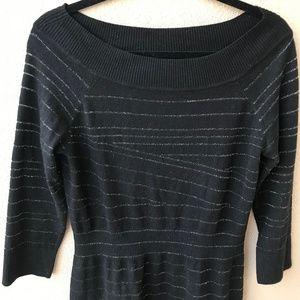 302535b080a White House Black Market Dresses - WHBM Shimmer Stripe Black Sweater Dress